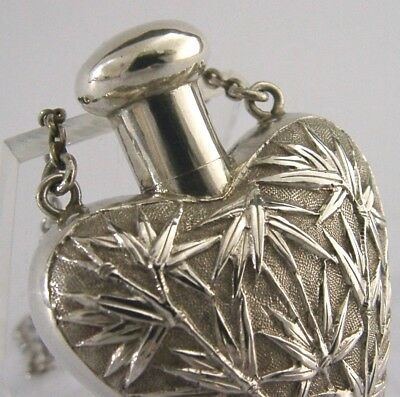 CHINESE EXPORT SILVER LOVE HEART SCENT BOTTLE c1890 WANG HING ANTIQUE