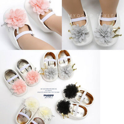 Newborn Baby Girl Flower Sneakers Toddler First Walkers Princess Leather Shoes