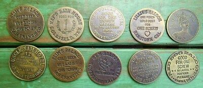 10 Different Old West Brothel Token Coin Cat House Whore House Souvenir T3