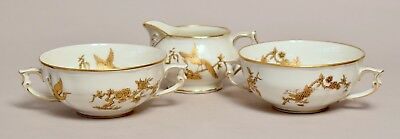 Vintage French Limoges Bernardaud Porcelain Jug Soup Cups, Queen Elizabeth 1957
