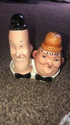 Rare Beswick Laurel & Hardy salt and pepper set with original stoppers and tray