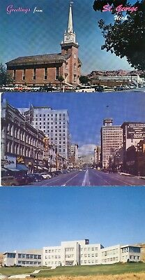 Lot of 3 UT postcards St. George/Tabernacle, Salt Lake City/Main Street/Hospital