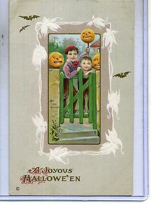 Halloween Postcard Small Child With Pumpkins
