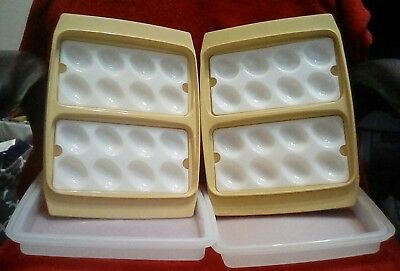 Vtg Lot 2 Tupperware Deviled Egg Tray Carrier Container Harvest Gold 723 EVC