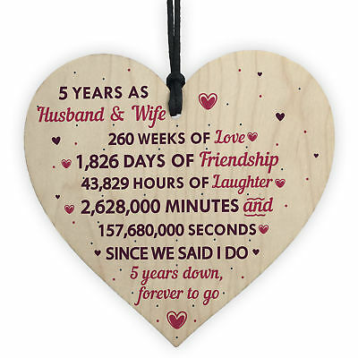 5th Wedding Anniversary Plaque Five Year Anniversary Gift For Her Husband Wife