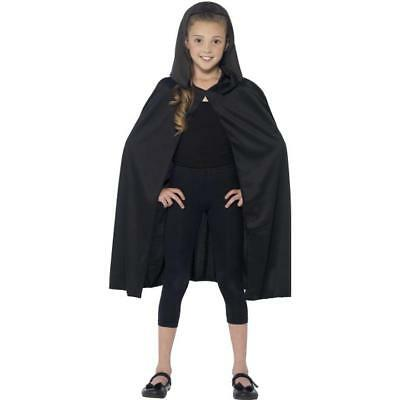 Child's Black Hooded Cape Long Black Cape Halloween 01-44203