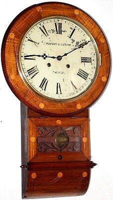 Antique Waterbury Gorgeous Jeweler's Inlaid Anglo American Regulator Wall Clock