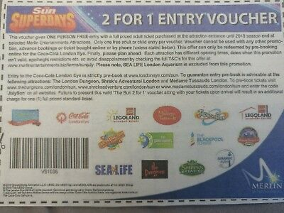 2 For 1 Voucher Alton Towers, Legoland, London eye, Thorpe Park many more