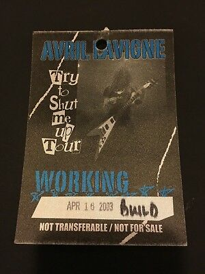 4/16 2003 Avril Lavigne Try To Shut Me Up Tour Fabric Back Stage Pass Pittsburgh
