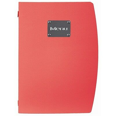 10 x Securit Rio A4 Menu Holder Covers Red 4 Page Contemporary Restaurant Cafe