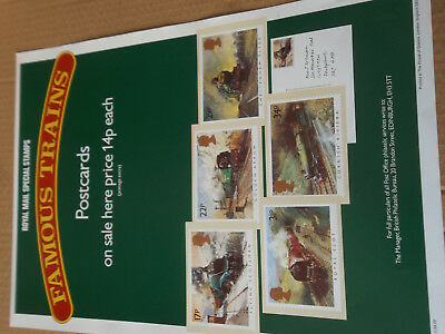 Royal Mail A3 Post Office Poster 1985 Famous Trains Phq Postcards