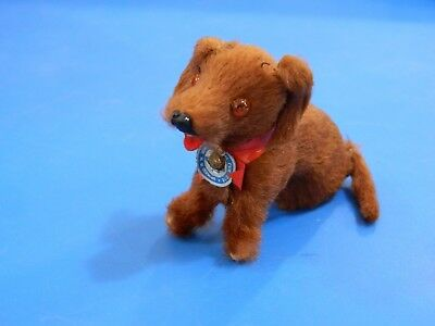 Vintage Original Fur Toys Real Fur Animals Brown Dog with tag made in W Germany