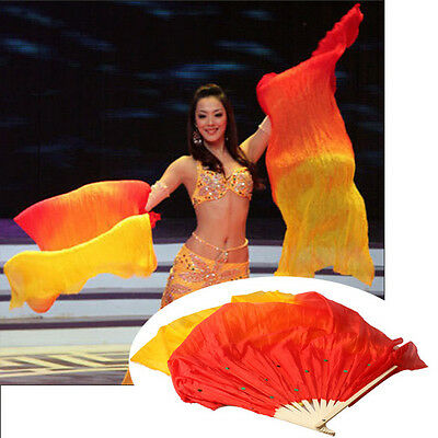 3 Colors Handmade Long Veils Fans Belly Women Dance Silk Bamboo Stage Props US