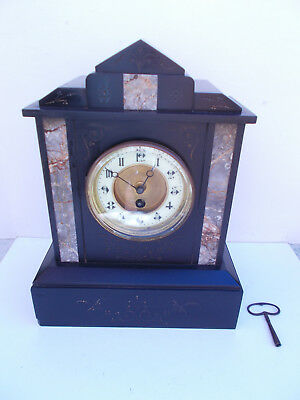 Late Victorian Antique French Black Slate Marble Mantel Clock Timepiece