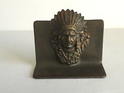 Vintage CAST IRON Single Native American INDIAN CHIEF Metal Bookend