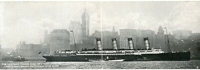 Lusitania Cunard Line New York Harbor Double Lenght Card