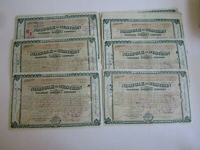 Lot of 50 1880's - NORFOLK and WESTERN RAILROAD Co. Stock Certificates - KIMBALL