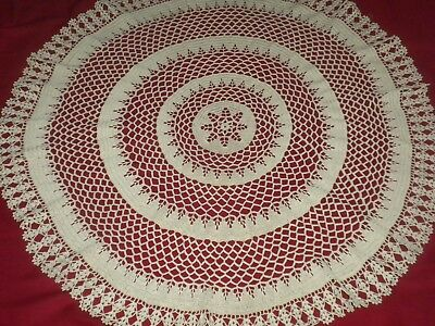 VINTAGE ECRU HANDMADE ART DECO  COTTON  CROCHET LACE Tablecloth