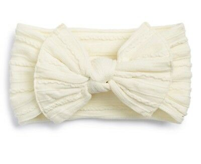NEW Baby Bling Bows Headbands Cable Knit Knots Fits Newborn - 6mo Cream Ivory