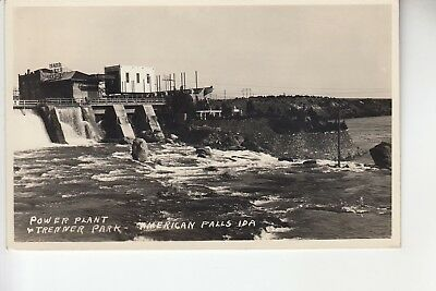 Real Photo Postcard Power Plant & Trenner Park American Falls Idaho
