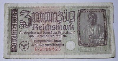WWII German Currency 20 Reichsmark Germany Note NO RESERVE