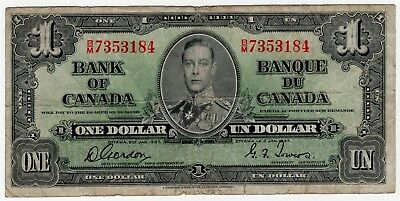 1937 Bank Of Canada One 1 Dollar Bank Note Bm 7353184 Nice Bill