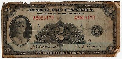 1935 Bank Of Canada Two 2 Dollar Bank Note A 2024472 Nice Bill