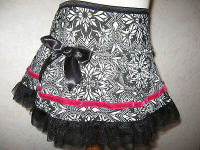 New Baby Girls Black white pink floral 12-18 mths party gift Goth Rock Retro