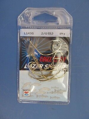 Package of 5  NEW Eagle Claw L2004G #8//0  BLKPearl Saltwater Lazer Sharp Hook