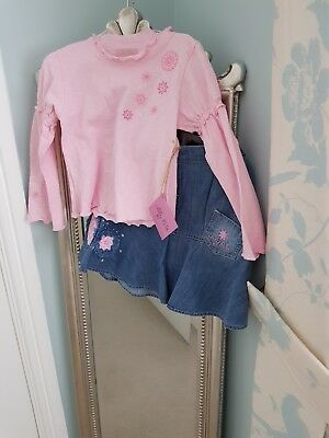 Girls Lily Rio Stunning Denim Skirt and Pink Top Outfit 5 Years *BNWT*