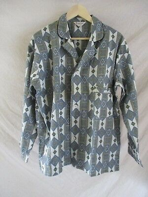 VINTAGE PAJAMAS blue green 70s cotton flannel pajamas XL DEADSTOCK NEW