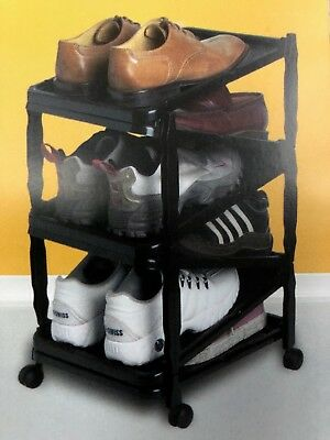 Shoe Rack-Modular-6 Pairs- Kd-W/ Wheels-Black-New