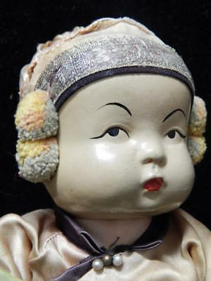Antique Vintage Chinese Composition + Gofun Doll Silk Clothing Very Old + Nice !
