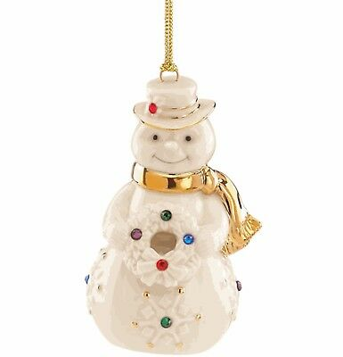 Lenox HOLIDAY GEMS SNOWMAN ORNAMENT Porcelain NEW IN BOX