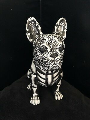 B&W Day Of The Dead Dog Frenchie Statue Sugar Skull French Bull Handpainted Art