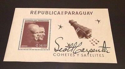M. SCOTT CARPENTER (Autogramm, Astronaut, Block Paraguay, Mercury Aurora 7)