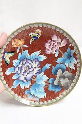 Chinese Cloisonne Blossoms Butterflies Flowers Red Plate