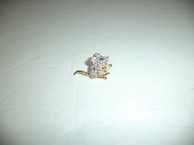 Swarovski Crystal Green Clear Mouse Rat Pin Retired