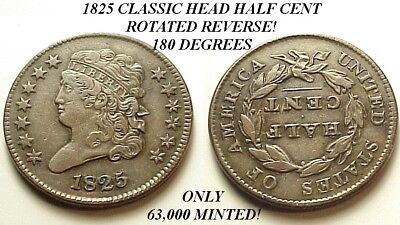 A/u 1825 Classic Head Half Cent-Only 63K Minted! Rotated Reverse! Free Shipping!