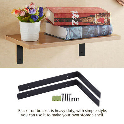 1 Pair DIY Wall Shelf Support Floating Concealed Hidden Shelf Metal Bracket Set