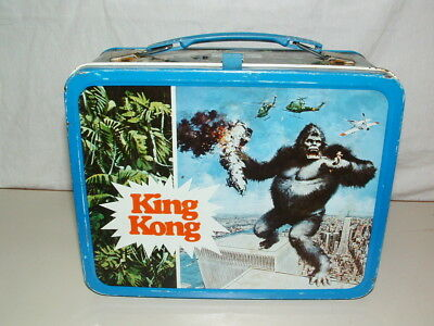 1977 THERMOS brand TIN-LITHO KING KONG  LUNCHBOX ONLY