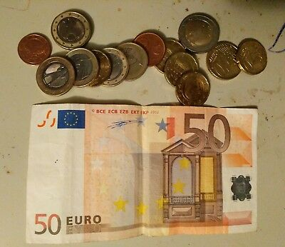 Authentic 50 Euro Eypo Bank Note Bill 2002 Circ Cond - Creasing + 15 Coins 2,1's