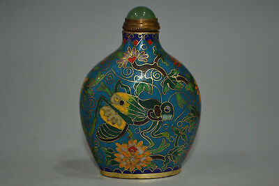Collectible antique China style Old cloisonne carve flower locust snuff bottle