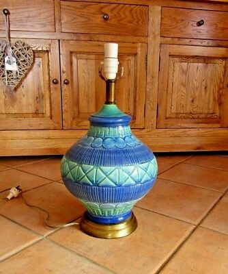 VINTAGE POTTERY TABLE LAMP 1960's BITOSSI LIKE BLUE & GREEN - WORKING