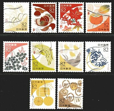 Japan 2017 82y Traditional Japanese Colours set of 10 Fine Used