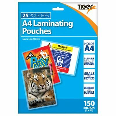 Tiger A4 laminating pouches 150 microns pack of 25