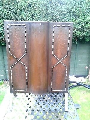 Arts and Crafts copper and wrought iron fire screen guard c.1900s
