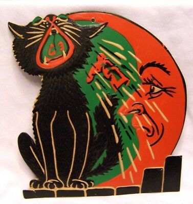 1930's Halloween Embossed Wall Decoration Howling Cat Made in U. S. A.  9 Inches