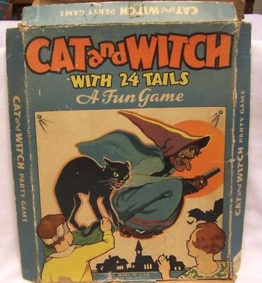 1930's Halloween Cat & Witch Party Game by Whitman w/ Original Box