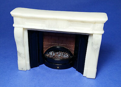 Miniature Dollhouse Fireplace Lights Up 1:12 Scale New